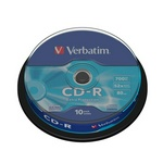 Диск CD-R 700Mb 52x CakeBox Verbatim 43437 0704-04 10 шт. упак. 65716