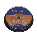 Диск DVD-R 16x 4.7Gb CakeBox Verbatim 43523 0812-02 10 шт. упак. 75750