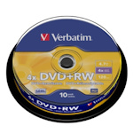 Диск DVD+RW Verbatim 4.7Gb 4x CB/10 43488 CakeBox 10 шт. упак. 95784