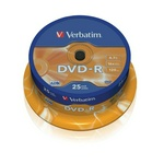 Диск DVD-R 16x 4.7Gb CakeBox Verbatim 25 шт. упак. 84129