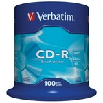 Диск CD-R 700 Mb 52х cakebox, Verbatim DLDL43411, 100 шт. в упак