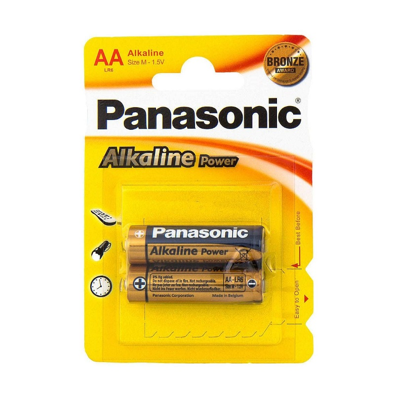 Батарейки Panasonic Alkaline Power АА LR6 A316 BL2, 1,5V