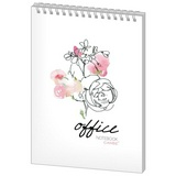 Блокнот Office Flowers А5 60 л, клетка, спираль